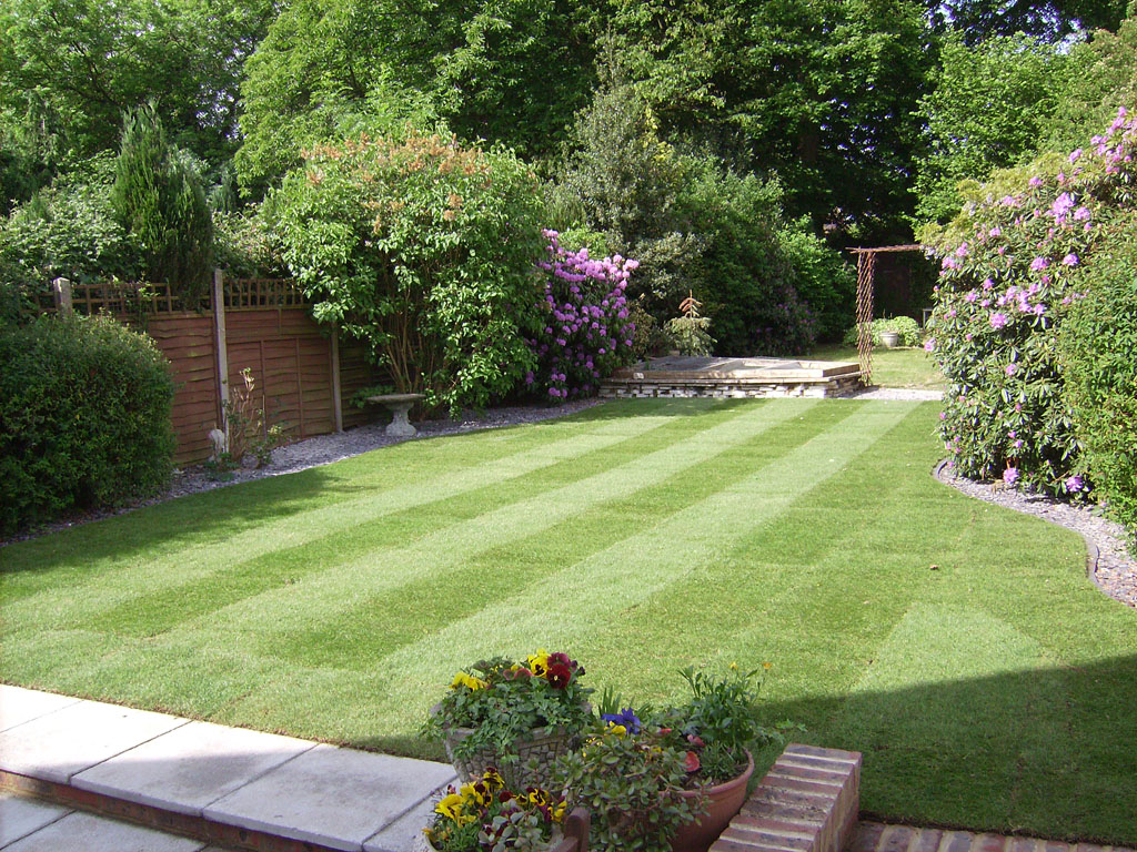 Some of our previous work grassy bank garden services for New garden design